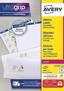 AVERY - (L7159-100) - Boite de 2400 étiquettes d'adressage autocollantes, Personnalisables et imprimables, Format 63,5 x 3...