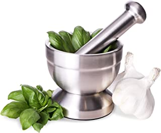 Juvale Mortar and Pestle Set - Stainless Steel Kitchen Herb and Spice Grinder, Small