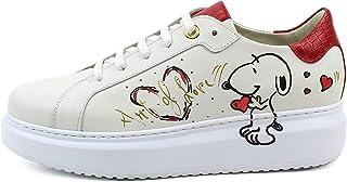 Sneakers Donna in Pelle Avorio con Decoro Dipinto a Mano