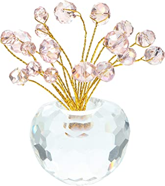 VOSAREA Crystal Flower Figurine Ornament Pink Chakra Crystal Flower Tree Healing Fengshui Crystal Statue Paperweight for Home