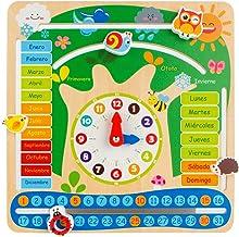 WOOMAX - Reloj calendario educativo de madera natural (ColorBaby 43896)