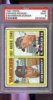 1967 Topps #93 Yankees Rookie Stars Bobby Murcer Stan Bahnsen 9 Graded Card - PSA/DNA Certified - Slabbed Baseball Cards
