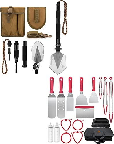 new arrival FiveJoy Griddle Accessories Kit for Camp high quality Chef BBQ Tools discount 17 PCS + Military Folding Shovel Multitool (C1) online sale