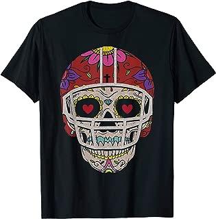 Dia de Los Muertos Football Helmet Sugar Skull Halloween T-Shirt