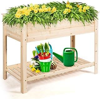 S AFSTAR Raised Garden Bed, Solid Wood Elevated Planter Box with Shelf for Flowers Vegetables Herbs, Indoor Outdoor Garden...