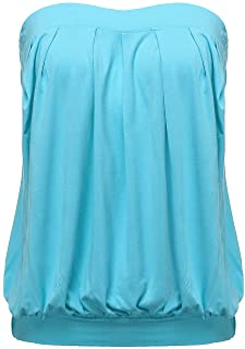 802291a5391 ZANZEA Women's Sexy Casual Summer Slim Strapless Pleated Ruched Beach Vest  Shirt Tube Tops