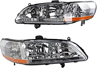 MILLION PARTS 2PC Front Left Right Car Headlights OE Style Replacement Headlamps Black Housing fit for 1998 1999 2000 2001 2002 Honda Accord