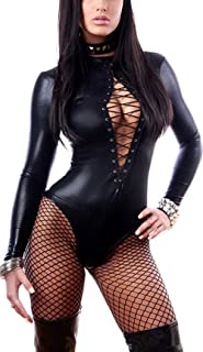 Womens Sexy Faux Leather Skin-Tight Long Sleeve Bodysuit Lingerie