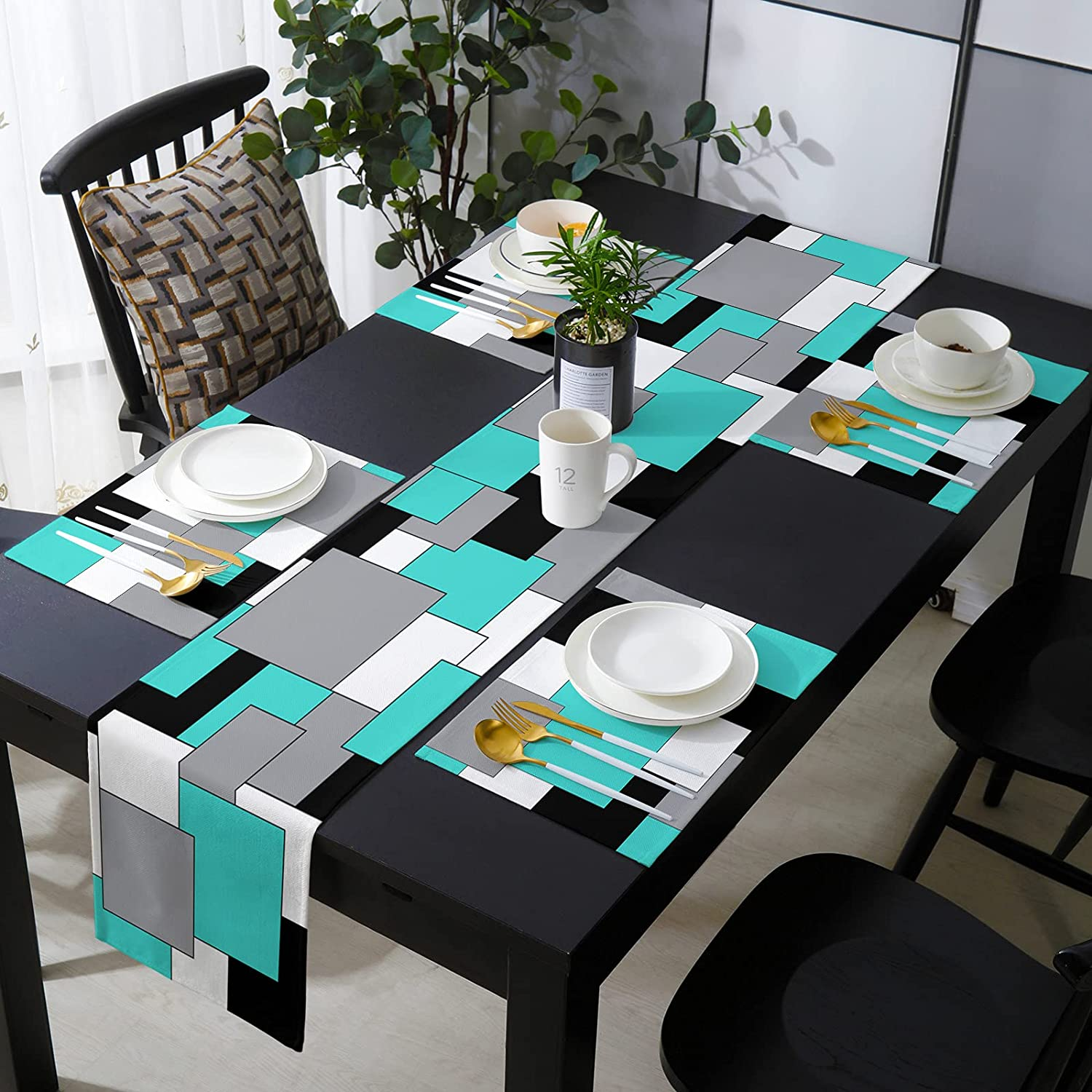 Savannan Burlap Popular product Placemat with Compatible Centu Product Runner Mid Table
