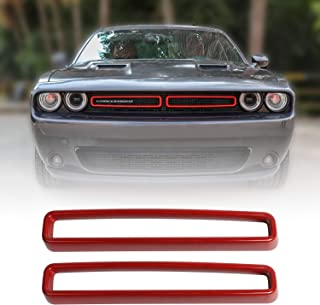 JeCar Grille Inserts ABS Grill Cover Trim Kit Exterior Accessories for 2015-2019 Dodge Challenger, Red