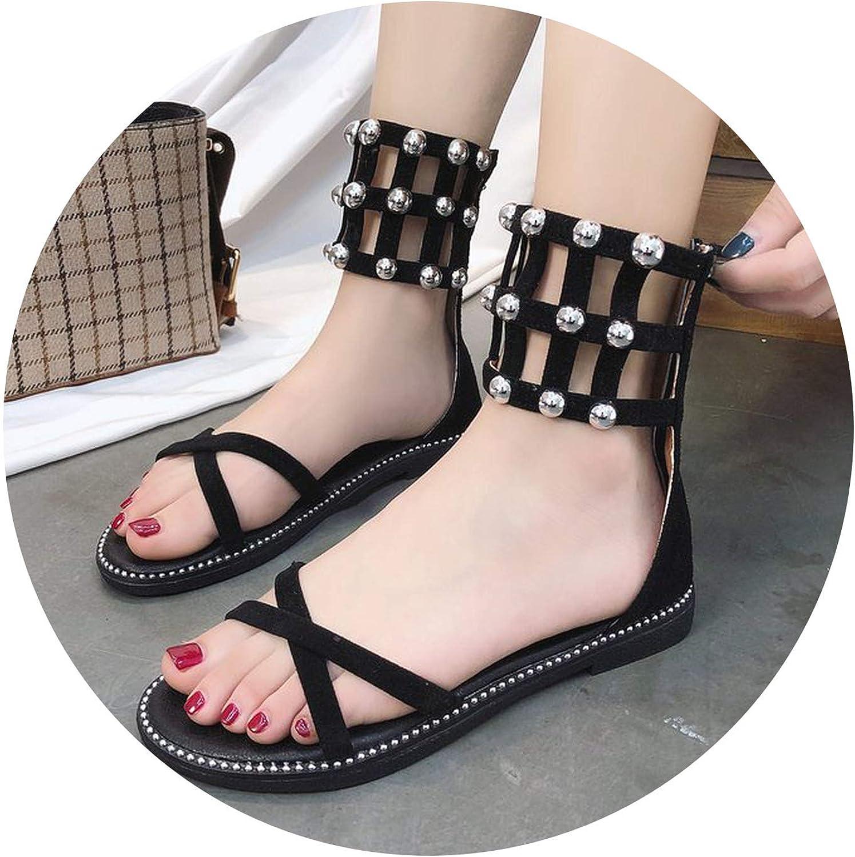 2018 New Spring Summer Gladiator Women Sandals Female Flat shoes Roman Rivets Leisure Sandals