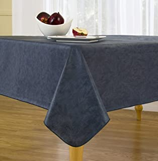 EVERYDAY LUXURIES Sonoma Damask Print Flannel Backed Vinyl Tablecloth, 60-Inch by 84-Inch Oblong (Rectangle), Navy