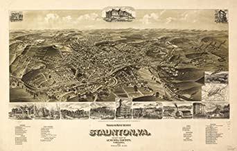 Map: 1891 Perspective of the city of Staunton, Va, county seat of Augusta County, Virginia 1891. Staunton's railway connections|Staunton|Staunton|Virginia