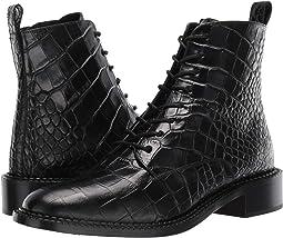 Black Croc Print Leather