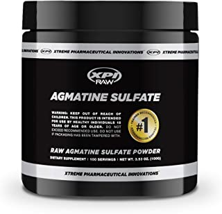 XPI Raw Agmatine Sulfate Powder 100 Grams, 100 Servings - Improve Strength, Build Muscle, Made in The USA