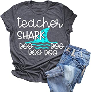 Rdambs Women Teacher Shark doo doo Short T-Shirt Casual Print Graphics Top Tees Match with Students Back to School Outfit