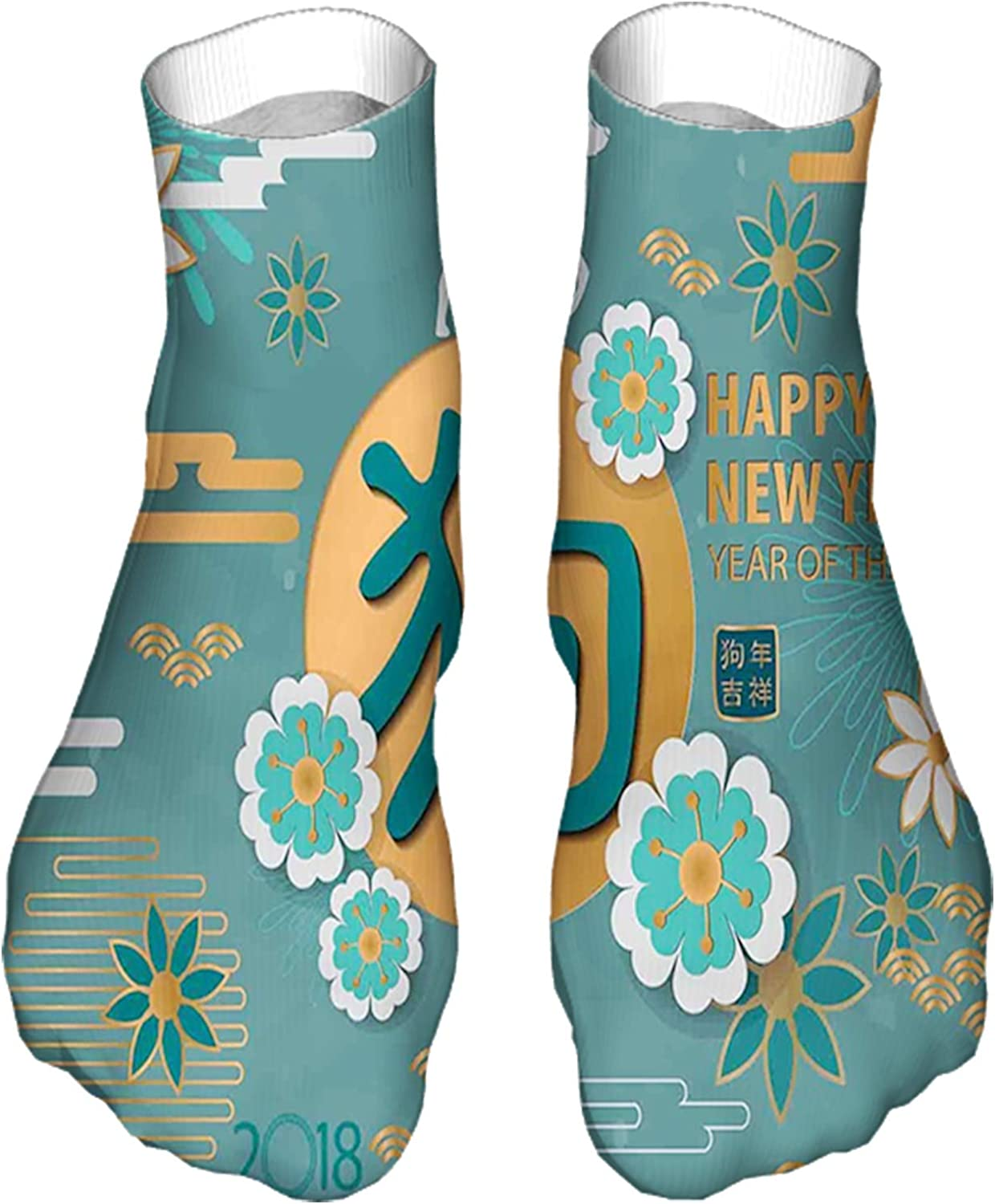 Women's Colorful Patterned Unisex Low Cut/No Show Socks,Lunar Year Illustration with Flowers and Circles Chinese
