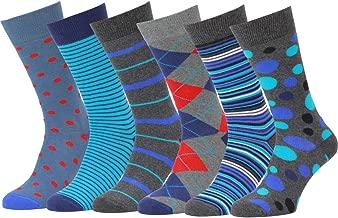 Easton Marlowe Mens Socks 6 Pack Colorful Fun Cool Patterned Dress Socks, European Made