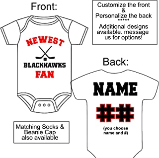 Custom-Made Personalized Newest Blackhawks Fan Bodysuit Hockey Jersey - Great Baby Announcement Reveal or Gift