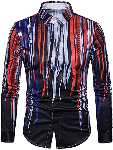 CHZDCS Shirt Hommes Shirt Slim Fit Floral Pour des hommes 3D Printed Shirt Décontracté manche longue Slim Fit hauts Button Down chemisier