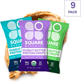 Square Organics Vegan Protein Bars - Protein Crispy Combo - 10g Protein - Organic Protein Bars are Gluten Free, Dairy Free, Soy Free, Non-GMO - Perfect Protein Bar for Plant Based Diet - 9 Pack