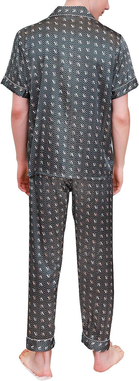 YAOMEI Mens Pyjamas Set Satin Sleeves Nighties PJ Set Sleepwear Nightwear Lingerie Button Pocket Shirt Top Bottoms Pants