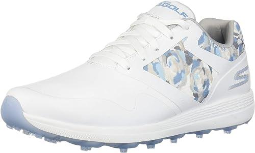 Amazon   [スケッチャーズ] ゴルフシューズ MAX-Draw レディース ホワイト×ブルー 22.5 cm 2E   ゴルフ
