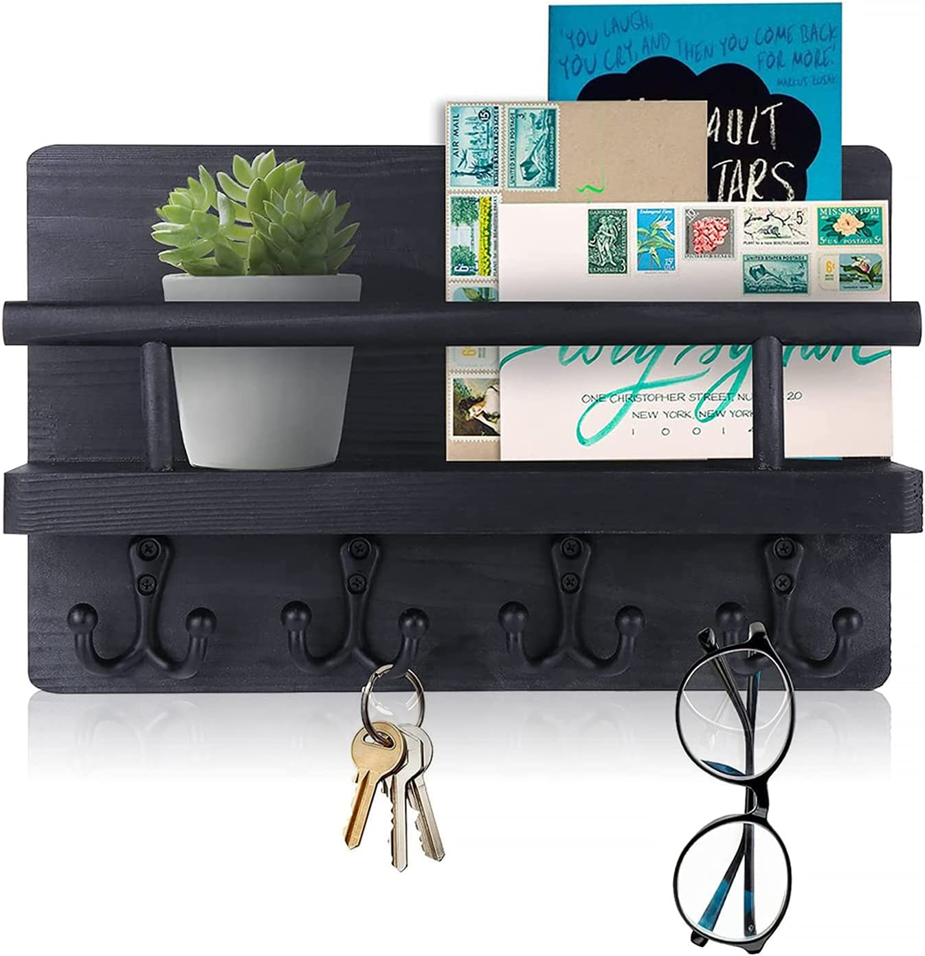 BIGLUFU Key Holder for Wall Key Hooks Rustic,Mail Shelf Organizer Wall Mount,Decorative Wooden Rack with 4 Double Thick Hooks Home Decor for Entryway,Storage, Living Room,Kitchen (Black)