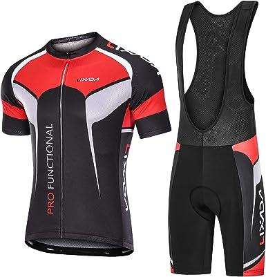 Lixada Maillots de Ciclismo Hombres Camiseta y Pantalones Cortos de Ciclismo Conjunto de Ropa para Ciclismo al Aire Libre