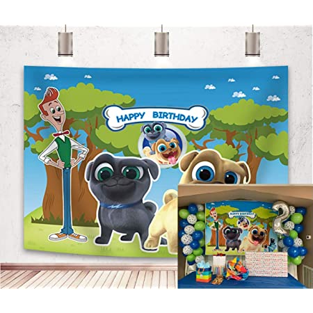 8x12 FT Dog Lover Vinyl Photography Backdrop,Cute Little Canines Pattern Cartoon Style Pet Animal Adorable Puppies Background for Baby Birthday Party Wedding Graduation Home Decoration