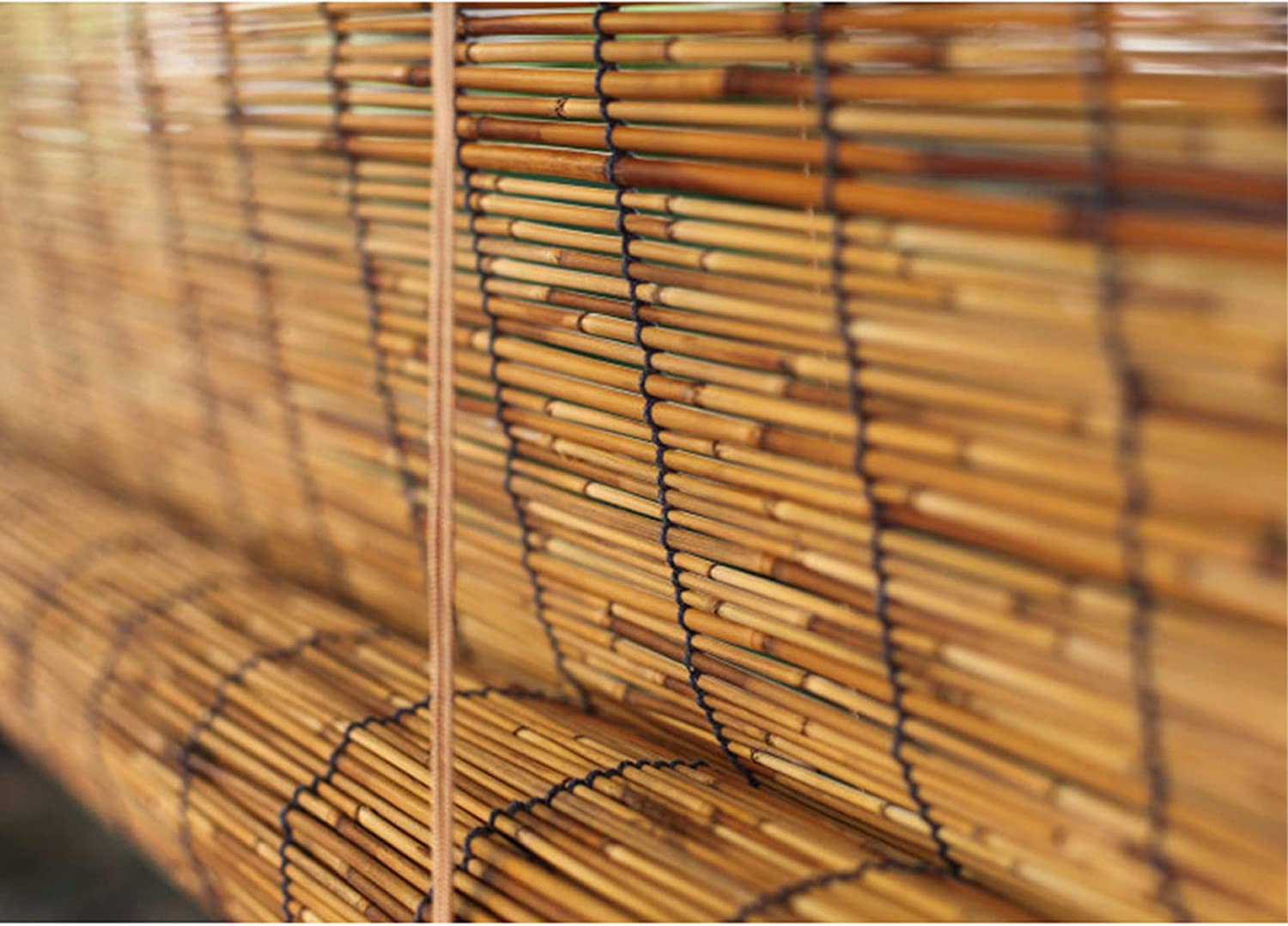 Zlovne Natural Reed Curtain Sun Credence Shade Bamboo Carbonization Retro Max 59% OFF