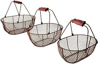 Esschert Design WB5 Oval Woven Wire Baskets, Set of 3