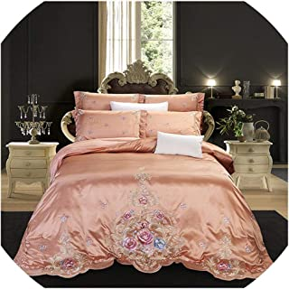 NanPing Luxury Silver Gray Purple Silk Egyptian Cotton Flowers Embroidery Palace Bedding Set Duvet Cover Bed Sheet Bedspread Pillowcases,5,King Size 4pcs,Bed Sheet Style