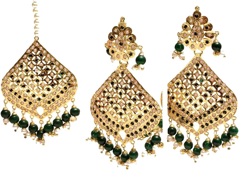 Gold Jadau Green Earings Bridal Punjabi Indian Wedding Earrings Tikka Muslim Jewelry Set