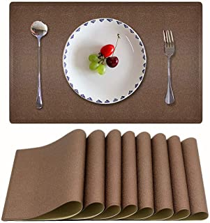Candumy Coffee Waterproof Place Mats PU Leather Tablemats for Dining Table Heat and Stain Resistant for Kitchen Dining Table, Easy to Clean Non-Slip Placemats Set of 8 (Bown, 18x12 inches)