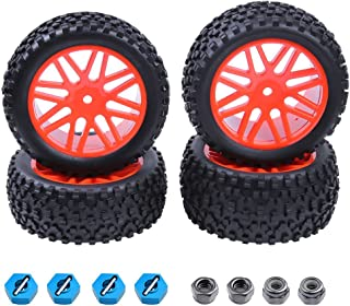 Drfeify 4-Pack RC Rubber Tires Wheel Rims Spare Replacement Parts Accessory for most 1:10 Scales On-Road Cars Black-concave