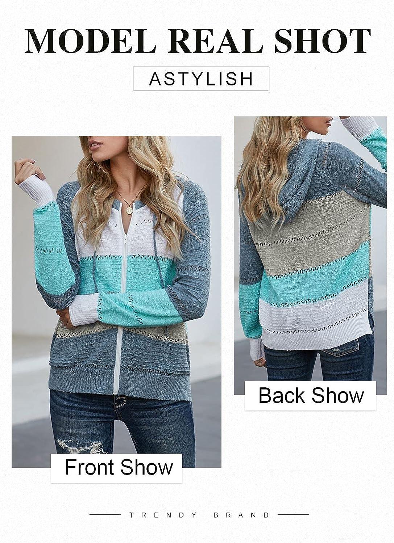 Astylish Women Color Block Zip Up Sweatshirt Long Sleeve Drawstring Knit Hoodies
