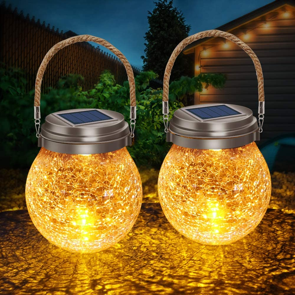 List price DBF Solar Lights Crackle Glass Ball Warm Hanging Sola OFFicial site LED Amber