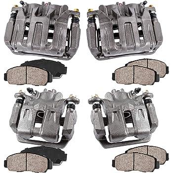 4 Hardware Brake Kit FRONT Ceramic Brake Pads Callahan CCK04160 REAR Premium Original Calipers