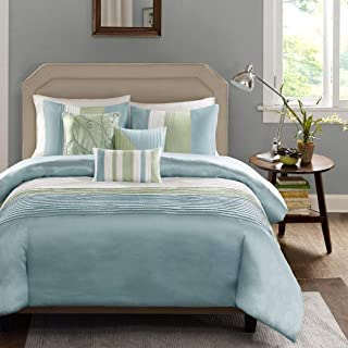6 Piece Light Aqua Pale Green Striped Duvet Cover King Set, Blue Adult Bedding Master Bedroom Stylish Pintuck Pattern Elegant Embroidered Pillow Traditional, Polyester Stripe