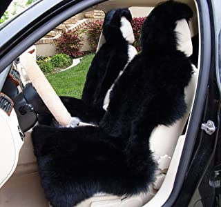 OKAYDA Car Seat Cover Genuine Australia Sheepskin Luxury Long Wool Front Seat Cover Fits Car, Truck, SUV, or Van (1 Piece) (Black 1)