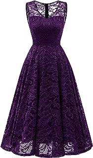 Women's Elegant Floral Lace Sleeveless Handkerchief Hem Asymmetrical Cocktail Party Swing Dress