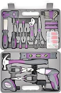 Werktough LADYCRAFT 44PCS 3.6V/4V Cordless Screwdriver Tool Kit Set Pink Color Tools Lady Tools kit Home Repair Set Toolbo...