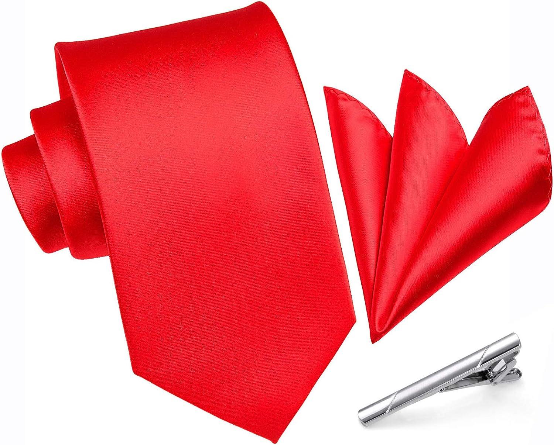 Enlision Mens Solid Color Formal Necktie and Pocket Square Tie Clip Sets Wedding Business