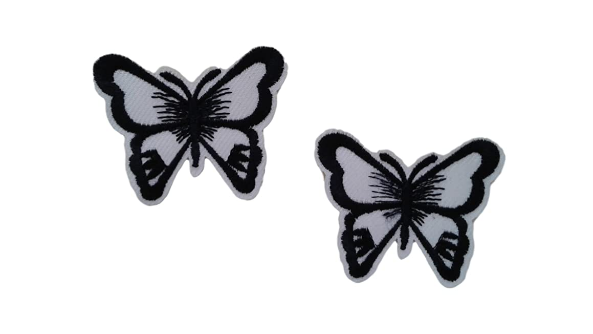 2 Pieces Black White Butterfly Iron On Patch Embroidered Applique Motif Fabric Children Decal 2.1 x 1.7 inches (5.3 x 4.3 cm)