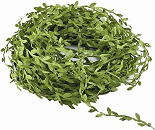 MMkiss 262 Ft Artificial Vines,Artificial Eucalyptus Leaf Garland Fake Hanging Plants Leaves DIY Wreath Foliage Green Leaves Ribbon Decorative Wreath Accessory Wedding Wall Crafts Party Décor