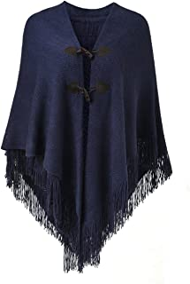 Ferand Women's Loose Fitting Poncho Cape Shawl with Stylish Horn Buttons, V Neckline and V Hem