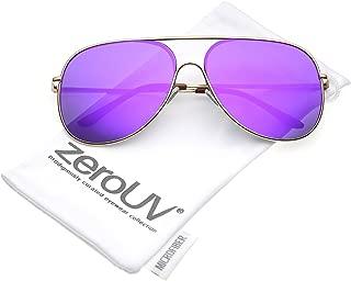 Oversize Metal Semi Rimless Teardrop Mirrored Flat Lens Aviator Sunglasses 62mm