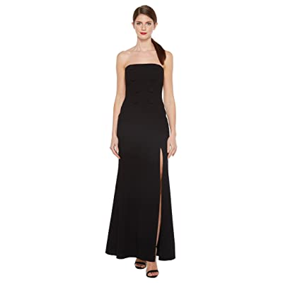 JILL JILL STUART Strapless Hourglass Gown with Center Buttons, Front Slit and Side Pockets (Black) Women