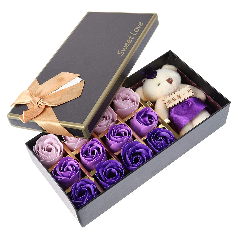 かき混ぜるサーバント委員会Beaupretty バレンタインデーの結婚式の誕生日プレゼントのための小さなクマとバラの石鹸の花